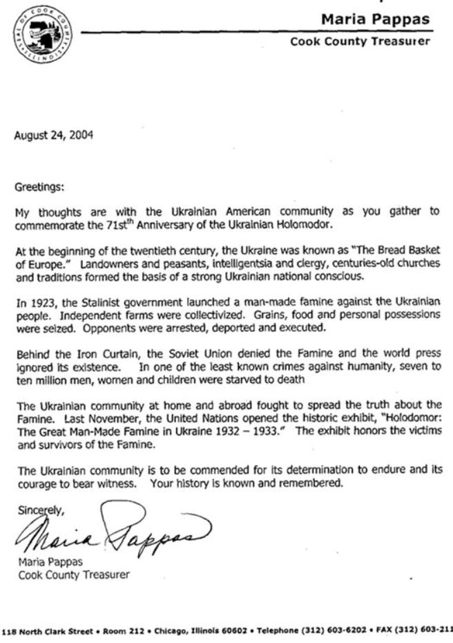 Ukrainian Genocide Famine Foundation - USA Letter from ...